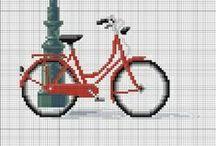 haft krzyżykowy/cross stitcher -rowery/bikes