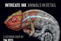 """Intricate Ink: Animals in Detail Coloring Book by Tim jeffs / Intricate Ink, Animals in Detail"""" is a coloring book of my animal artwork published by Pomegranate's Publishing. It has 50 of my black & white animal drawings to color anyway your imagination can dream up!"""