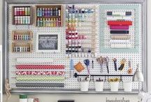 Sewing Room Organization / My work space is usually a mess, unfortunately, and I spend way too much time trying to find things!  Need to use some of these ideas!