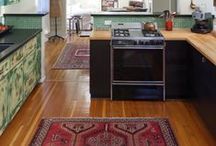 Oriental rugs in the Kithchen / Add some texture and warmth to the most used space in your home : The Kitchen!