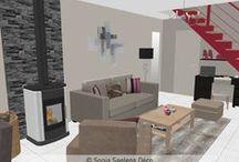 Projets pro - Sonia Saelens déco / Quelques uns de mes projets: Croquis et projections 3D