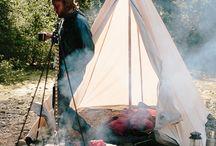 kamperen / Terug naar de natuur.  Vuurtje maken, eitje koken, koffie zetten.