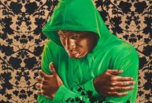 """Kehinde Wiley / """"Los Angeles native and New York based visual artist, Kehinde Wiley has firmly situated himself within art history's portrait  painting tradition. As a contemporary descendent of a long line of portraitists, including Reynolds, Gainsborough, Titian, Ingres, among others, Wiley, engages the signs and visual rhetoric of the heroic, powerful, majestic and the sublime in his representation of urban, black and brown men found throughout the world."""" - http://kehindewiley.com/"""