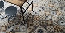 Graphic Floors - Trend / Ranging from modern geometric patterns to classic cement tile looks, graphic floors (or walls) make a bold statement. The patterns and colors are endless, vibrant and always beautiful. Choose a porcelain tile that mimics the encaustic (cement-based) tiles to get this look without the maintenance.