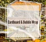 Halloween Decorations and Costumes Made from Cardboard or Bubble Wrap