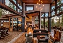 """Modern Lodge Style / It's a rustic modern home or hotel. We are defining the style elements as """"Modern Lodge""""."""