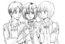 SnK Eren Armin Mikasa