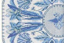 NIEBIESKIE - HAFT / Niebieskie hafty, dekoracje, przedmioty