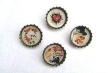 Bottle cap keychains, badges, buttons