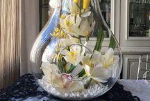 Cam fanusta yapay çiçek tasarımları