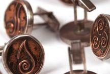 Mesele Cufflinks -Kol Dügmesi / Cufflinks with  a raw copper body, pure silver framing and clip set, these cufflinks are completely handmade.