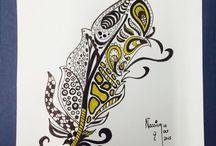 My Paintings-black pen drawings / Black ink paintings with frames