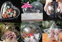 Ideas para bolas transparentes / Propuestas creativas para decorar bolas transparentes. En Navidad son una apuesta original y sencilla. En www.centroartesano.es puedes adquirirlas en varios tamaños.