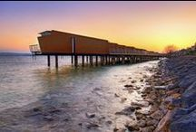 Palafitte hotel / The only hotel in Europe built on stilts, the Palafitte enjoys an exceptional setting right on the shores of lake Neuchatel, Switzerland. www.palafitte.ch