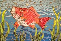 Fish mosaics from Felicity Ball mosaics - great for bathroom design and kitchen design / I love making fish mosaics, making them as realistic as possible to decorate any room in the house or garden!