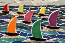 Mosaic boats pictures from Felicity Ball mosaics / My mosaic art particularly lends itself to coastal scenes hence this board of seas and boats. I especially enjoy making commissions of favourite scenes and boats - the personal touch makes it so special and unique - great for a special anniversary, wedding or gift!