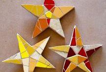 Multi-media Christmas stars - mosaic, ceramic, driftwood