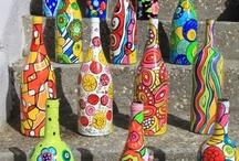Funky, colourful bottle art