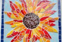 Uplifting sunflower art - especially mosaics