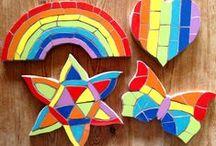 Rainbow mosaics / Beautiful rainbow mosaics from Felicity Ball mosaics- available        http://folksy.com/shops/felicityball