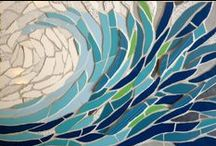 Mosaic waves / I love making mosaic waves - trying to capture the movement, colour and texture of the sea with all the different tiles I have in my studio. www.felicityballmosaics.com