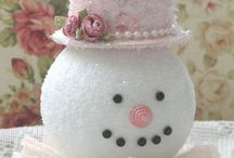 Christmas & Winter / More ideas for work & home.  Shabby chic, white, pink, distressed, for me.  Kids' stuff for work ideas.