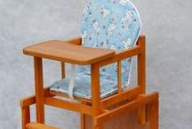 Children's furniture from wood / This highchair is made from top quality pine wood from a beautiful polish forest. Waterproof seat, easy to wipe clean Safe, certified, water-based, clear varnish Easily converts into table & chair  This highchair has been made with comfort and safety of your baby in mind.