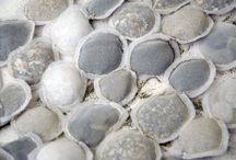 higher design theme - shoreline: shells / blues, whites, browns