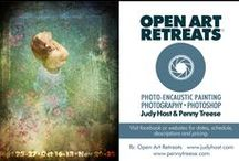 Open Art Retreats / Encaustic Painting 3-day Weekend retreats comprised of 3 powerful sessions where learning lives alongside rejuvenation and expansion of the creative mind, spirit and soul. www.OpenArtRetreats.com. #pennytreese, #judyhost, #openartretreats, #adultartretreats