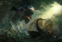 Ships and Sea Monsters Artworks / Cause old Ships are cool and Sea Monsters are scary!