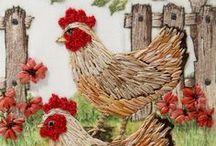 Ricamo uccellini, galline, oche