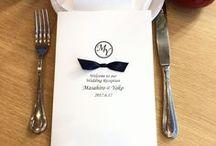 wedding reception paper gallery / ペーパーアイテムを中心に ウェディング関連のアイデアを 集めました wedding place cards  ribbon stylish simple design wedding reception ideas