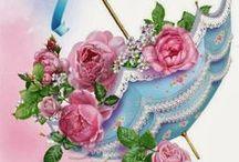 rose and flower decoupage / çiçek desenli dekupaj