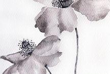 Flower Watercolor Paintings on Paper