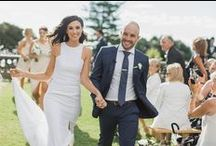 SH BRIDE: VICTORIA & MICHAEL / Victoria's pure linen Suzanne Harward gown with an angular raglan neckline was the perfect synthesis of contemporary chic. The couple wed at Bib + Tucker.