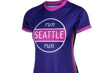 Women's Seattle Running Tops - Run Seattle Run Collection / Performance women's running tops, jackets and hats featuring Seattle designs in vibrant colors on technical fabrics.