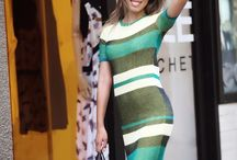 Knitted striped green dress