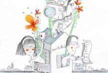 poesie-visive / poesie visive, illustrazioni legate alla vita privata delle persone.  Non si tratta infatti di semplici illustrazioni, ma di un racconto per immagini; frammenti di vita dei miei committenti, le poesie che amano, le loro canzoni preferite, i loro sogni, aiutarli nei loro progetti editoriali.                                             Ogni disegno che nasce è unico.