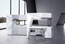 "Origami-mi / The basis of kitchen unit is a frame made of metaltube on which are mounted boxes. The frame allows the kitchen units exist independently from the wall. For the production of fronts used «sandwichpanel». System of opening boxes is an electric drive ""servo-drive"",you can lightly press the front and even a fully loaded box will open. Kitchen sets can have different layouts."
