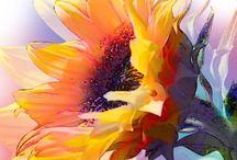 Cuadros de pintura / Flores con arte