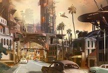 Cyberpunk Noir Cityscapes / Cyberpunk-Noir Environments  | Old-school Cyberpunk Cityscapes | Retrofuture Cyberpunk | Digital Art and Paintings