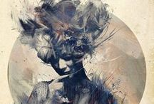 Russ Mills ♦ Paintings / Russ Mills works dwells in a netherworld between urban fine art and contemporary graphics, A collision of real and digital media it is primarily illustration based with a firm foundation in drawing, he focus mainly on the human form particularly the face, interweaving elements from the animal kingdom often reflecting the absurdity of human nature.