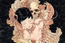 Takato Yamamoto ♦ Illustrations / His highly detailed illustrations combine tight line work with moments of ukiyo-e, eroticism, bondage, ghostly images, Bellmer-esque surrealism and Heisei Esthiticism.