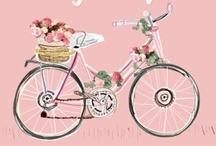 Riding bicycle..
