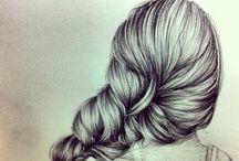 Piirrustuksia hiuksista / Erilaisia hiustyylejä