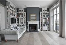 Ash Grey Parquet Flooring / A beautiful project created using Ash Grey Chevron engineered wood flooring and a pewter border