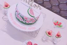 One in a melon birthday / One in a melon first birthday decor including lollipop holder and cute party hats