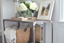 Hallway tables, shelves and decor