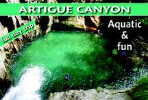 Canyon de l'Artigue / Magnifique course de montagne, ensoleillée et ludique ! Une journée de plaisirs et de rafraîchissement face aux '3000' Ariégeois... Sauts à gogo, grands toboggans, méga tyrolienne... Vaste programme à la journée dans une eau turquoise et un cadre majestueux. Émotions et sensations garantis ! http://www.speleo-canyon-ariege.com/activites/initiation-canyon/canyon-de-l-artigue