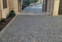 Reclaimed Cobblestone Driveways, Walkways, Patios / Historic European Cobblestone; Authentic reclaimed antique cobblestone used for driveways, walkways, patios and more - in either granite or sandstone, available in multiple sizes. Imported from Europe, by Monarch Stone International, nationwide.